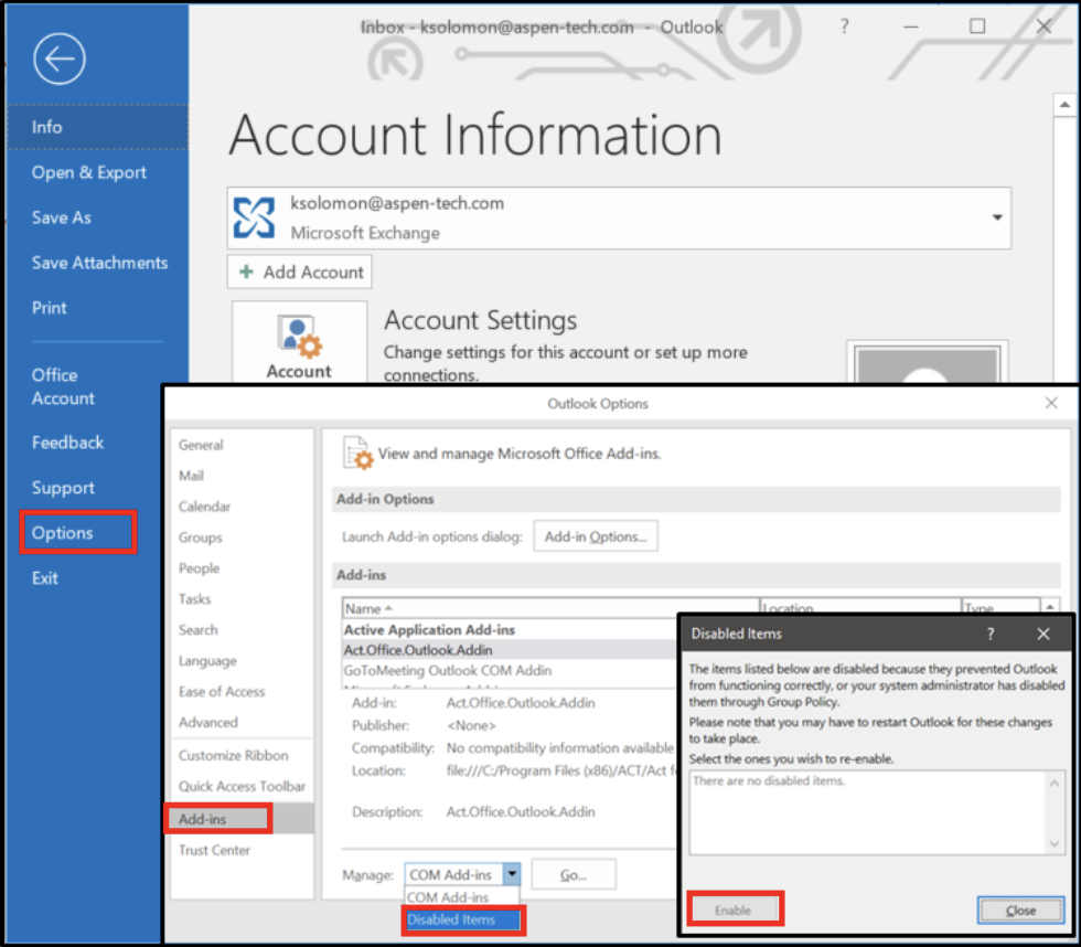 Simple Tips for Keeping your Act! Outlook Integration Running